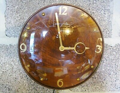 Smiths Sectric wood veneered wall clock with gold hands and domed glass