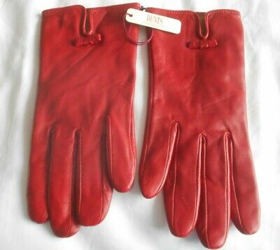 """""""Dents"""" Designer Ladies Beautiful Soft Red Real Leather Gloves Size 6 ½ Bnwt!!!"""