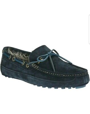 Clarks Men's Kite Brave Navy Suede Leather Faux Fur Lined Moccasin Slippers
