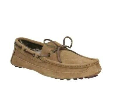 Clarks Men's Kite Brave Tan Suede Leather Faux Fur Lined Moccasin slippers