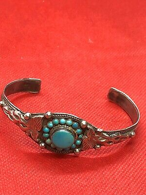 Early c20th Islamic Persian Mid Eastern Silver & Turquoise Bangle