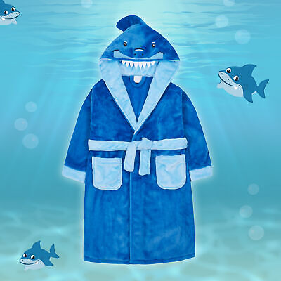 Kids Child Boys Shark Dressing Gown Novelty 3D Hooded Soft Touch Fleece Bathrobe
