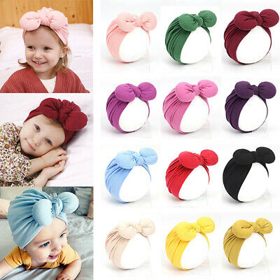Newborn Toddler Baby Candy Color Big Bow Beanies Soft Cotton Knotted Indian Hats