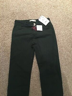 Zara Girl Trousers With Belt Green Sateen Trousers Age 9
