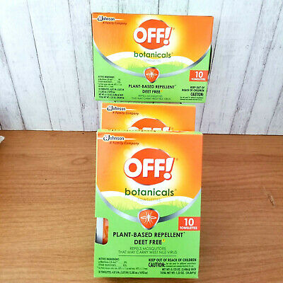 OFF Botanicals Wipes Natural Insect Mosquito Repellent (3 Boxes) Deet Free