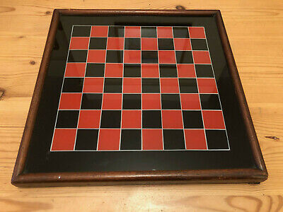 Antique Victorian Glass Top Wooden Chess Board
