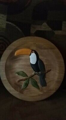 Wood carving Tucan. Done on Poplar stained and sealed. 11 inches round 3D carved