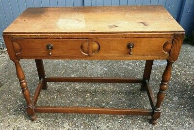 Antique Vintage Old Oak Side Hall Table Compact Two Drawer Desk Turned Legs