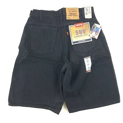 Vintage 90's Levis 560 Loose Fit Shorts Men's 32 Black Denim Orange Tab USA NWT