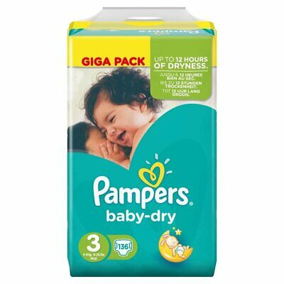 Baby Dry Size 3 Midi 6-10kg Jumbo Pack (136 Nappies)