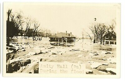 RPPC Amity Hall Gas Station Flood DUNCANNON PA Perry County Real Photo Postcard