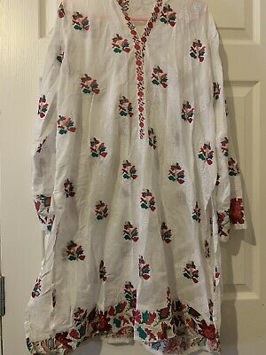 Agha Noor Kurta White Floral Size Small S Designer Pakistan Kameez Embroidery