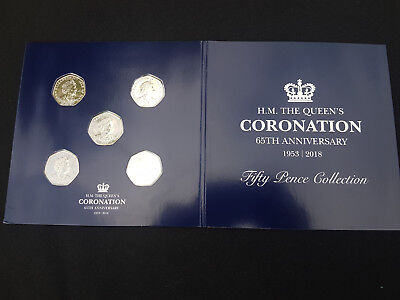 50p Fifty Pence Coin Set ISLE OF MAN QUEENS Sapphire Coronation Collection 1A