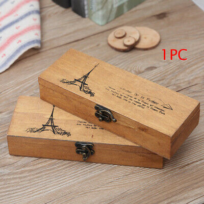 Students Vintage Wood Eiffel Tower Pencil Pen Box Case Stationery Holder