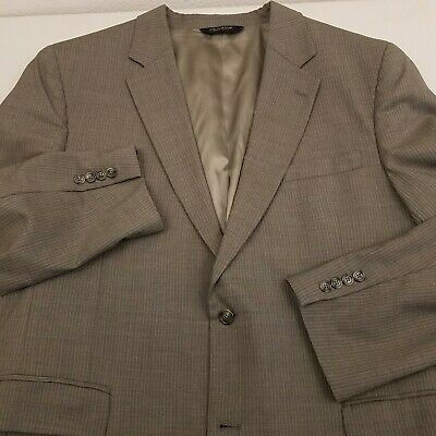 Jos. A Bank Mens Wool Sport Coat Jacket Size 46L Long Solid Taupe Color