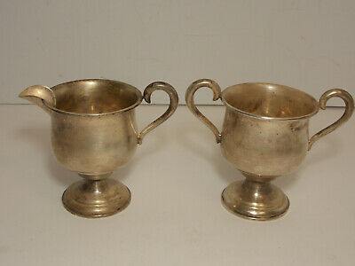 ANTIQUE EMPIRE STERLING SILVER SUGAR & CREAMER SET WEIGHTED - APPROX. 198 Grams