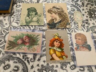 Vintage Victorian paper cutouts lot USA advertising girls easter scrapbook nr