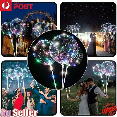 2/5/10x LED Lights With Clear Bubble Balloons Bobo Balloon Sticks Party Wedding