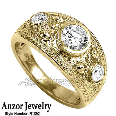 Etruscan Byzantine Style Men's genuine Diamond Ring 14k Solid Yellow Gold Ring
