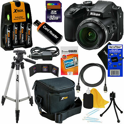 Nikon COOLPIX B500 16MP 40x Zoom Digital Camera,Blck + Batts.& Charger +32GB Kit