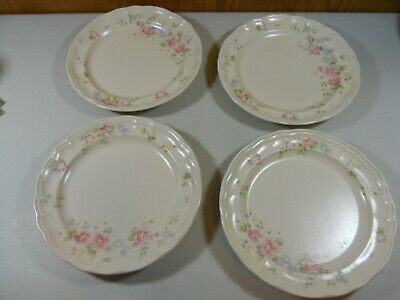 "Set of 4 Pfaltzgraff TEA ROSE Dinner plate 10 1/4"" Floral Pattern, Made in USA"