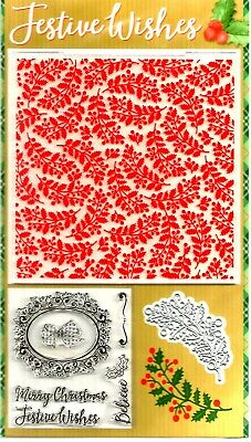 Festive Wishes Stamps, Die & Embossing Folder.