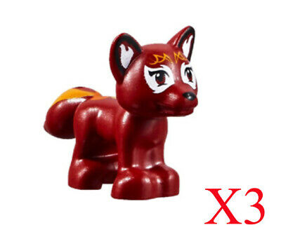 ☀️NEW LEGO Animal Pet Dark Red Fox Flamy Elves Flames on Tail friends