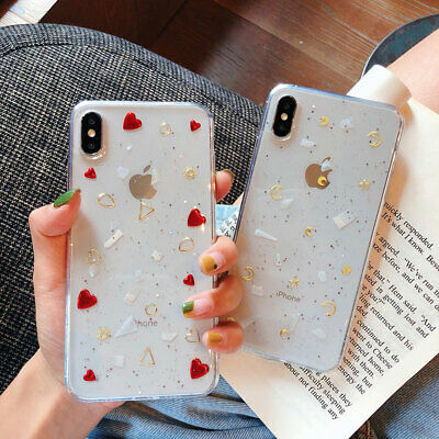 Bling Glitter Love Heart Clear Gel Soft Phone Case Cover For iPhone 11Pro XS Max