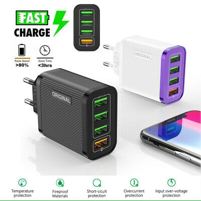 4 Multi-Port Fast Quick Charge QC 3.0 USB Hub Wall Charger Adapter US Plug