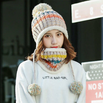 Womens Lady Knitted Scarf and Beanie Hat Pom Pom Hat Cap Set Warm Winter Scarves