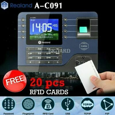 Realand A-C091 Biometric Fingerprint Time Attendance Clock TCP/IP USB + 20 Cards