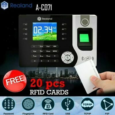 Realand Biometric Fingerprint Time Attendance Clock TCP/IP USB FREE 20 RFID Card