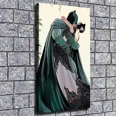 "12""x22""Batman kiss catwoman HD Canvas prints Painting Home decor Poster Wall art"