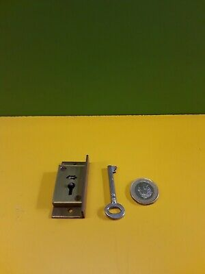 "Solid brass  cut in  Cupboard Lock 2"" X 1"" With 1 Key (4 lever)"