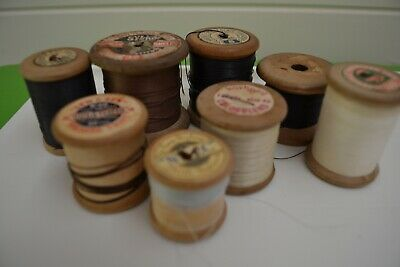 Vintage 8 Cotton Reels Wooden Sizes Craft Sewing Shop Display Photo Prop Rare