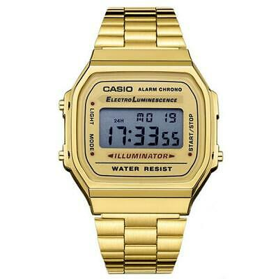 Casio Digital Quartz Alarm Calendar Stainless Steel Unisex Watch-A168WA