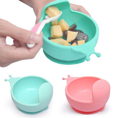 Baby Bowl Durable Suction Cup Base Toddlers Snail Shape Anti-fall Silicone Arc