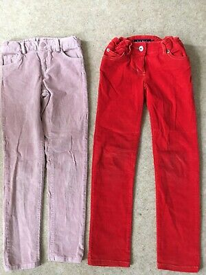 Girls Skinny Corduroy Cords Jeans Red Pink Age 7-8 Bundle Mini Boden Mothercare