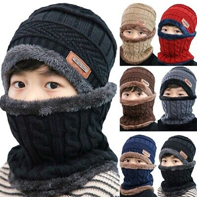 Child Kids Girl Boys Winter Warm Cap Earflap Knitted Plain Beanie Hat Scarf Sets
