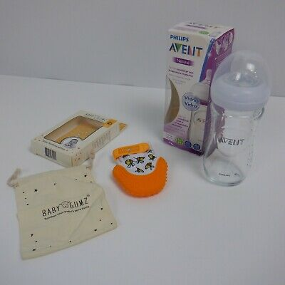 Philips Avent Natural glass bottle & Teething Mitten for Babies by Baby Gumz