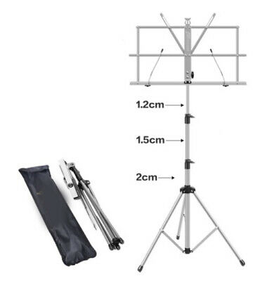 D12 Silver Iron Portable Foldable Adjustable Music Stand Holder Folding Tripod A