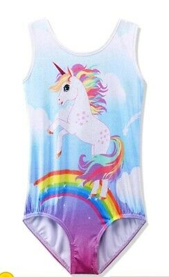 Gymnastics Dance Leotard Rainbow Unicorn Pattern Size 10A (UK 9Y-10Y)