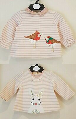 Baby Boden Girls Long Sleeved Top Xmas Robin Or Flower Bunny  Bnwot