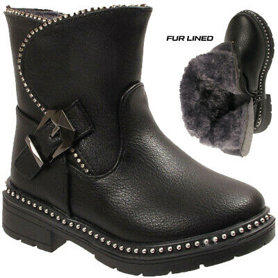Girls Kids Faux Leather Studs & Fur Lined Infant Warm Winter Ankle Boots Shoes