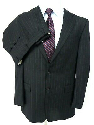 Hickey Freemen Men's Suit US 42L Grey Pinstripe Wool 2-Btn Pleat Front Long 2pc