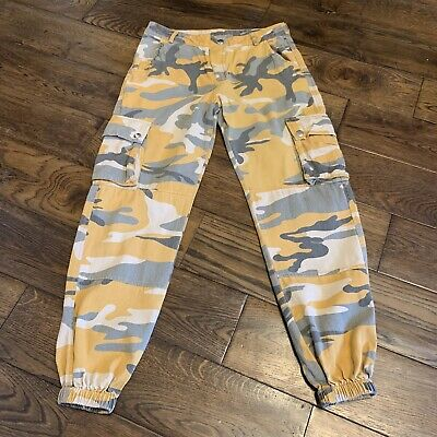Girls Yellow Mustard Camouflage Combat Army Trousers New Look Age 9