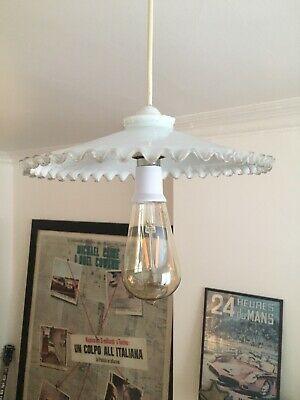 """1930s French Opaline Pendant Lampshade Glass with Frilled Edge 10"""" diameter"""