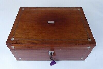 Antique Indian Rosewood  Pewter and MOP Sewing Box with Contents