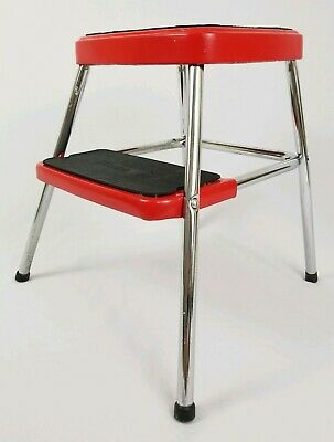 Vintage Cosco Red Step Stool Footstool Plant Stand Retro Mid-Century