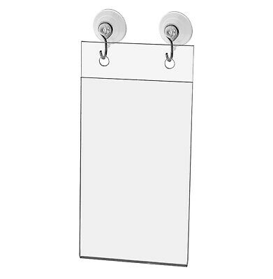 "Sign Holder Wall Mount 3""W x 5""H with Hooks and Suction Cups"